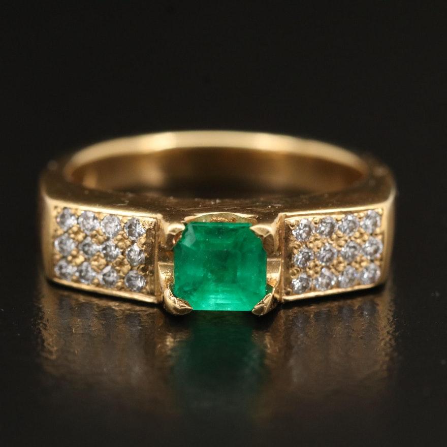 18K Emerald and Diamond Ring