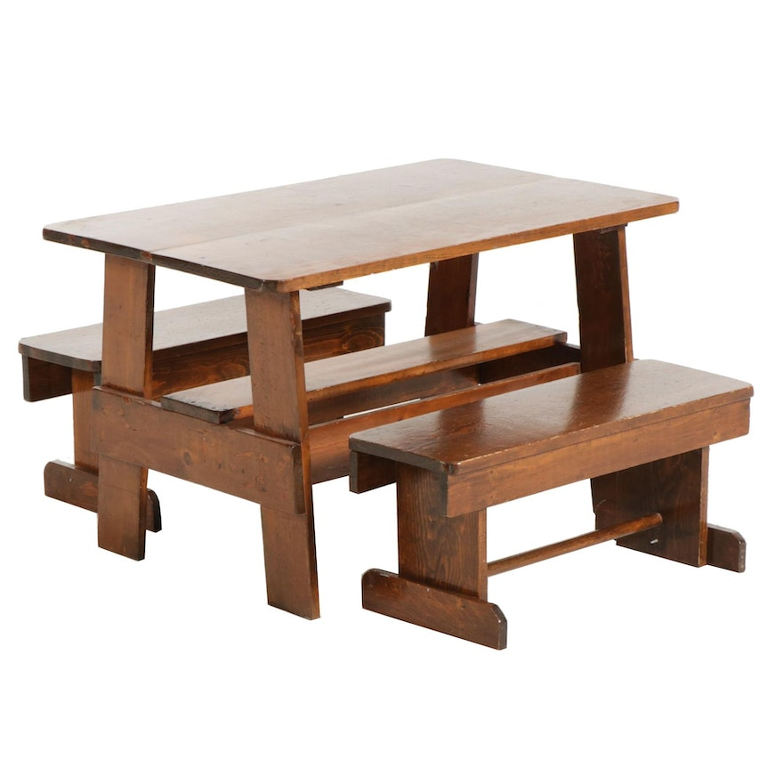 Rustic Pine Child's Table and Benches, 21st Century