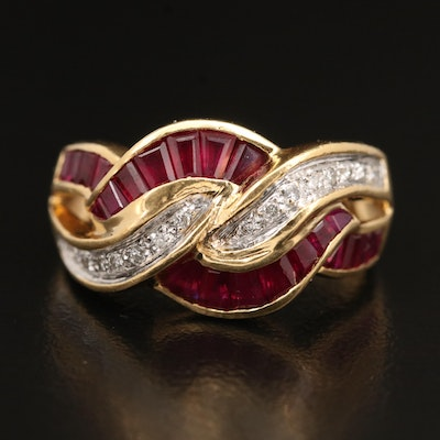 18K Ruby and Diamond Knot Ring