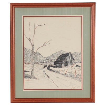 Rural Landscape Ink Drawing of Barn, 1973