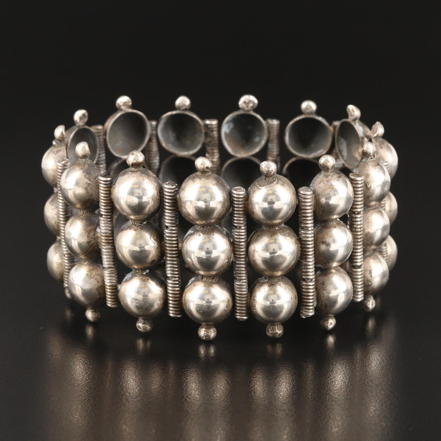 Vintage Sterling Wide Bracelet with Domed Links