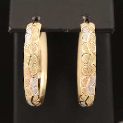 14K Tri-Tone Scalloped Hoop Earrings