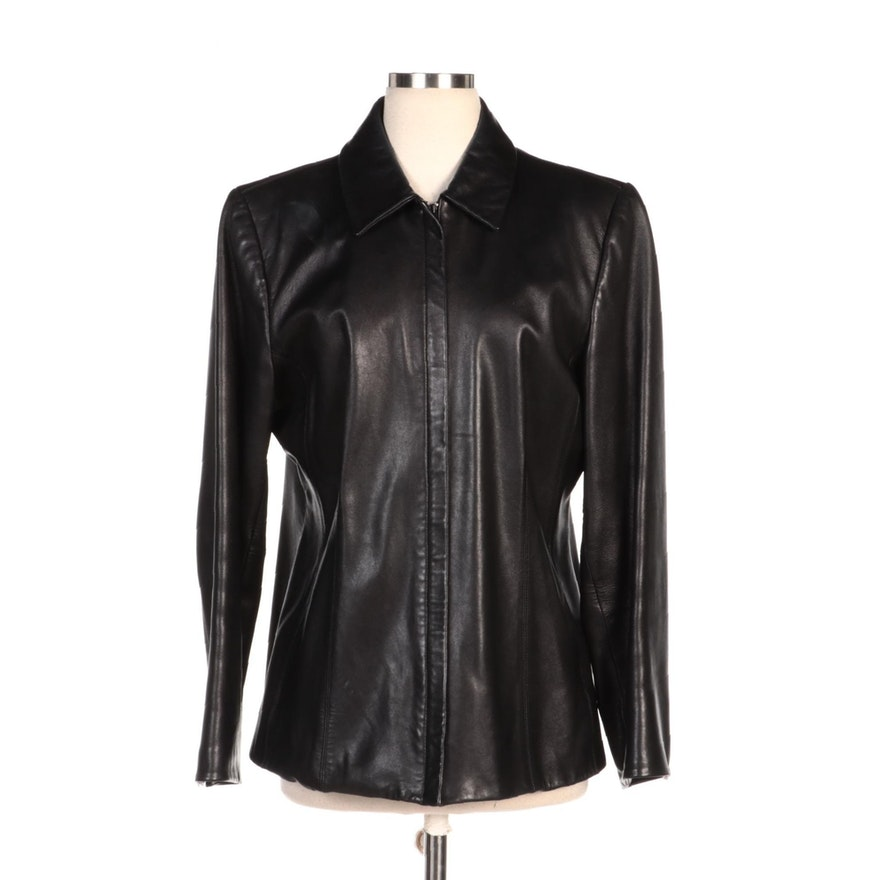 Lord and Taylor Black Leather Zipper-Front Jacket