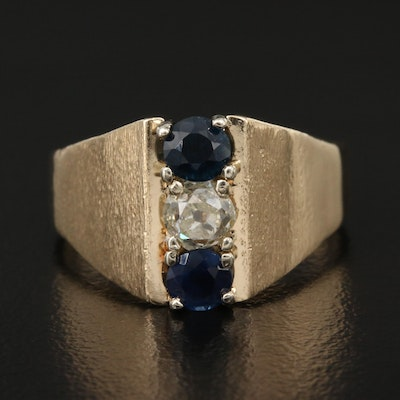 14K Diamond and Sapphire Ring with Florentine Finish