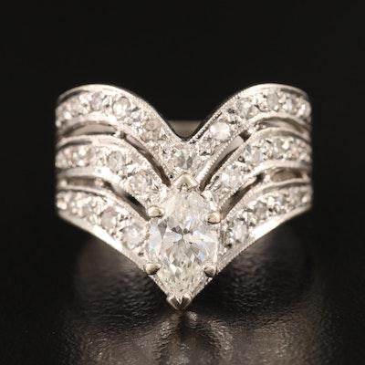 14K 1.27 CTW Diamond Chevron Ring