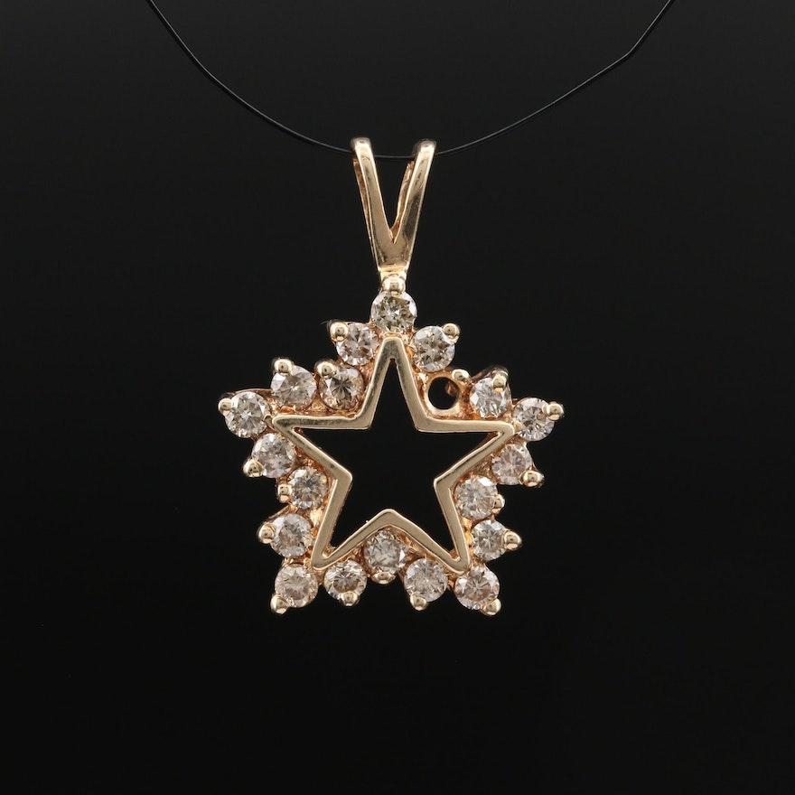 10K Diamond Star Pendant