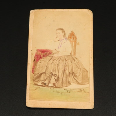 Hand-Tinted Carte de Visite Card with 1862 2-Cent Washington Proprietary Stamp
