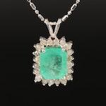 14K 3.14 CT Emerald and Diamond Halo Pendant Necklace