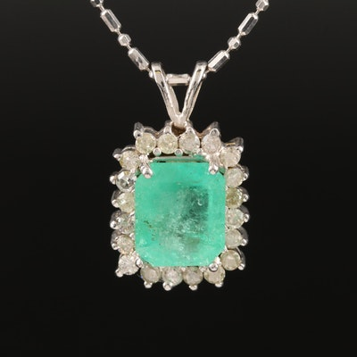 14K 3.14 CT Emerald and Diamond Halo Pendant Necklace
