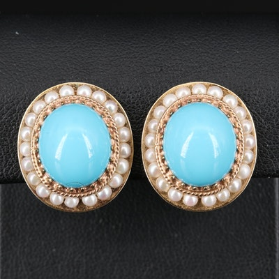 14K Imitation Turquoise and Pearl Clip Button Earrings