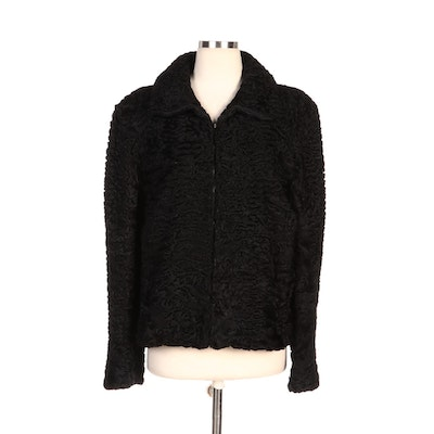 Black Persian Lamb Fur Zipper-Front Jacket for Embry's