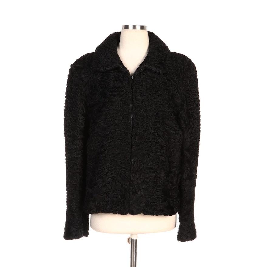 Black Persian Lamb Fur Zipper-Front Jacket for Embry's