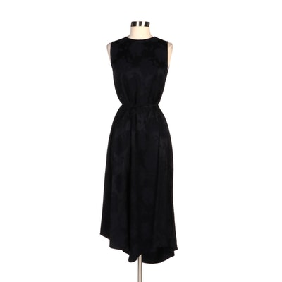 Vince Black Floral Jacquard Sleeveless Midi Dress with Tie Belt