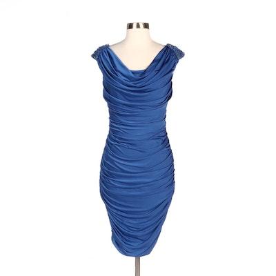 Tadashi Shoji Royal Blue Ruched Sheath Dress with Embellished Shoulders