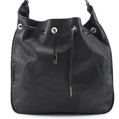Gucci Drawstring Hobo Bag in Black Leather and Bamboo
