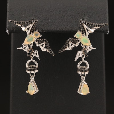 Sterling Bats in Flight Earrings with Opal and Spinels