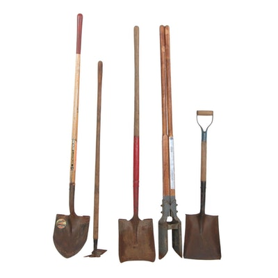 Sears Craftsman Post Hole Digger, Shovels, and Garden Hoe