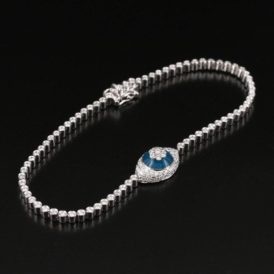 14K 1.62 CTW Diamond Bracelet with Floral Accent