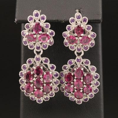 Sterling Rhodolite Garnet and Amethyst Dangle Earrings
