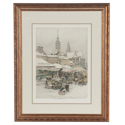 "Robert Kasimir Color Etching ""Munich - Viktualienmarkt"""