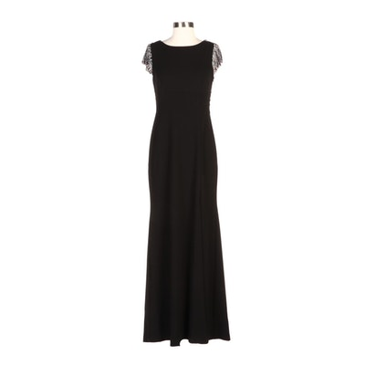 Aidan Mattox Embellished Scoop-Back Gown in Black with Side Slit