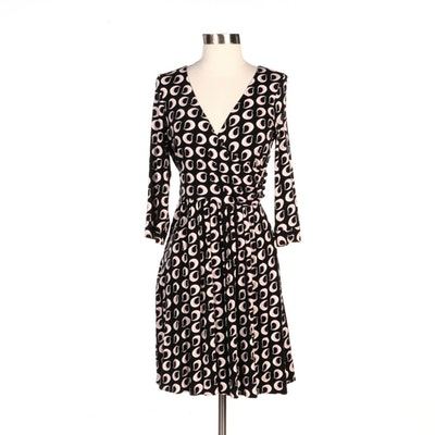 Milly New York Printed Jersey Knit Three-Quarter Sleeve Fitted Dress