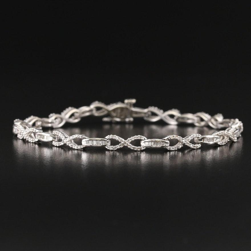 10K 1.00 CTW Diamond Infinity Link Bracelet