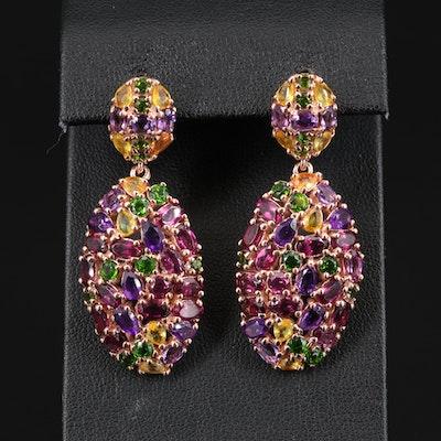 Sterling Amethyst, Rhodolite Garnet and Sapphire Earrings