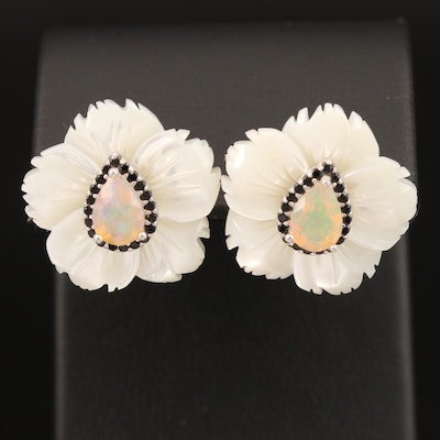 Sterling Mother of Pearl, Opal and Cubic Zirconia Flower Earrings