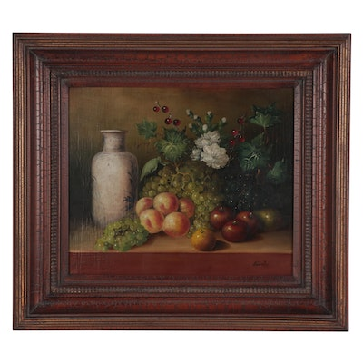Edilmer Sanchez Still Life Oil Painting of Fruits, Late 20th Century
