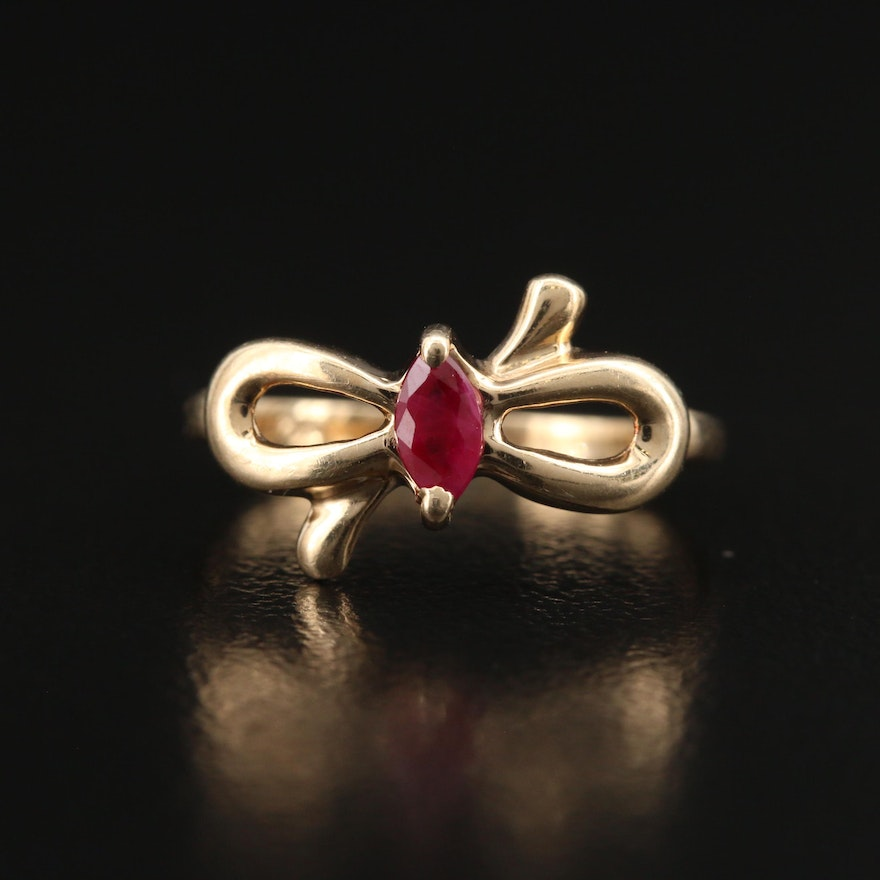 10K Ruby Bow Ring