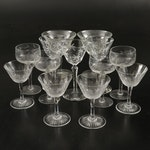 Floral Etched Glass Champagne Coupes with Cut Glass Stemware, Vintage