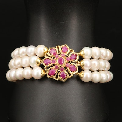 Sterling Corundum and Pearl Triple Row Bracelet