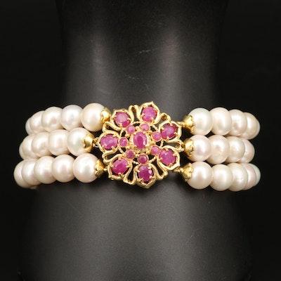 Sterling Corundum and Pearl Triple Row Bracelet