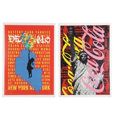 """Death NYC Pop Art Graphic Prints """"Jack & Coke"""" and """"Balloon Girl,"""" 2020"""