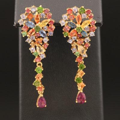 Sterling Rhodolite Garnet and Gemstone Cluster Earrings