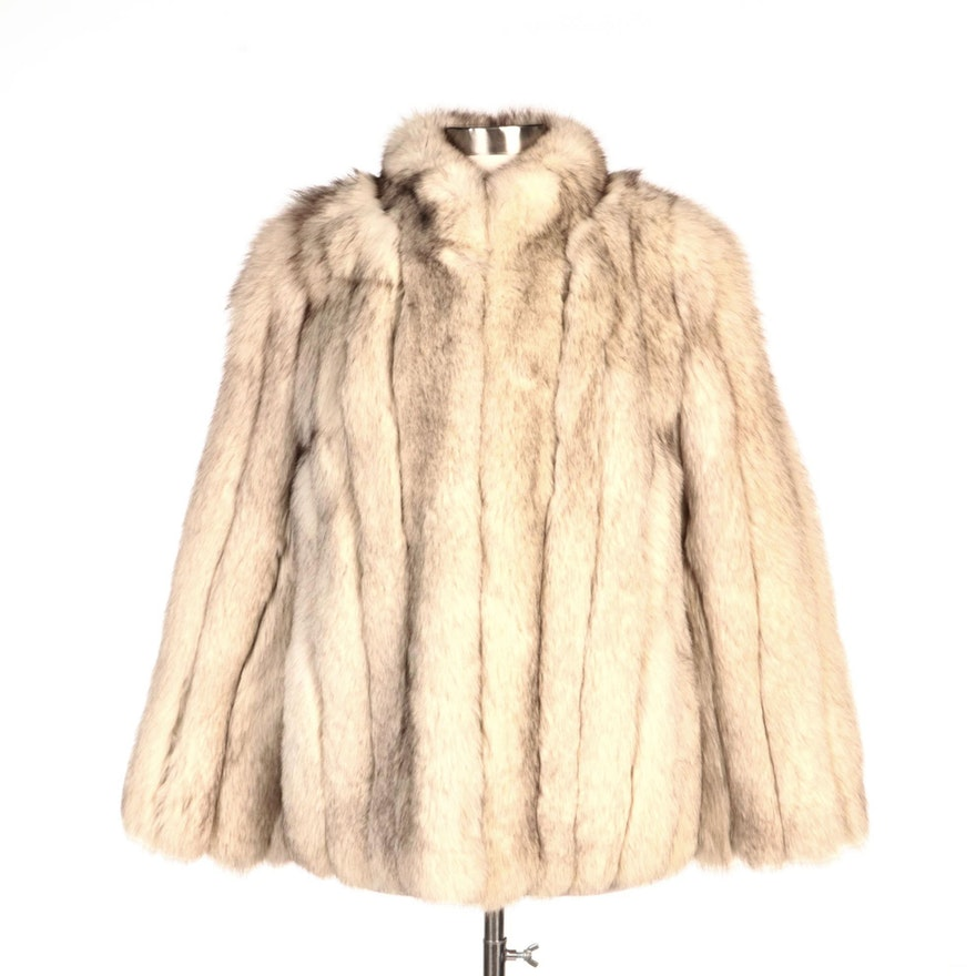 Full Pelt Blue Fox Fur Stroller Jacket