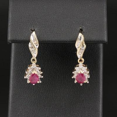 10K Ruby and Diamond Halo Drop Earrings