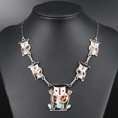 Pitkin Natewa Zuni Sterling Cowrie Shell, Coral and Turquoise Owl Necklace