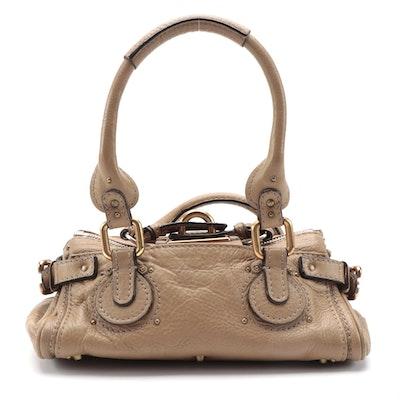 Chloé Paddington Small Satchel Bag in Tan Grained Leather