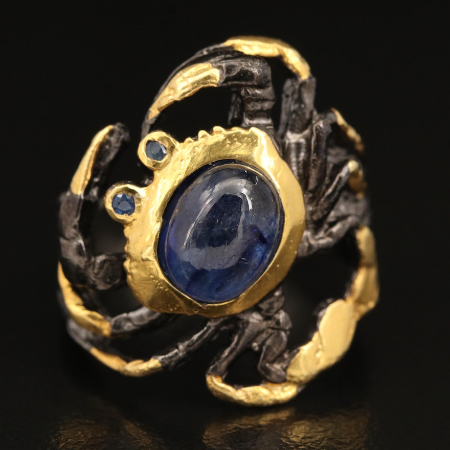Sterling Corundum and Sapphire Crab Ring