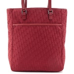 Christian Dior Small Tote in Red Diorissimo Canvas with Leather Trim