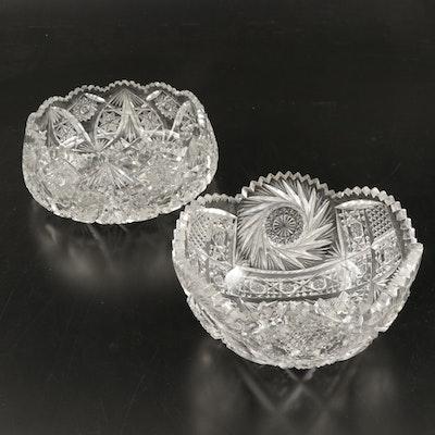 American Brilliant Cut Glass Style Bowls, 20th Century