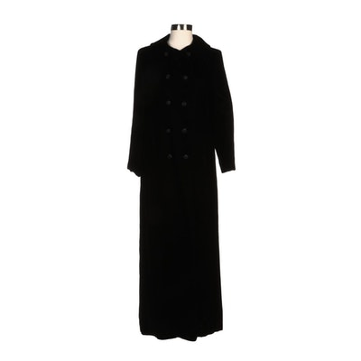 Embry's Black Velvet Double-Breasted Duster Jacket