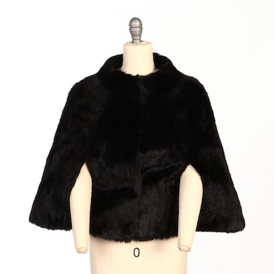 Black Calf Fur Capelet with Arm Slits