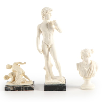 """Gino Ruggeri """"The Wrestlers"""" for Tito Bianchi with Other Replica Resin Figures"""