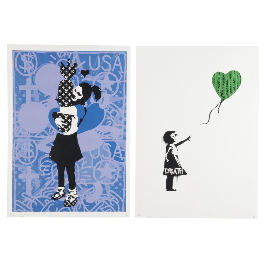 "Death NYC Pop Art Graphic Prints ""Banks Bomb Girl"" and ""Balloon Pumpkin,"" 2020"