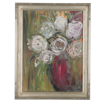 Still Life Oil Painting of White Roses, circa 2000