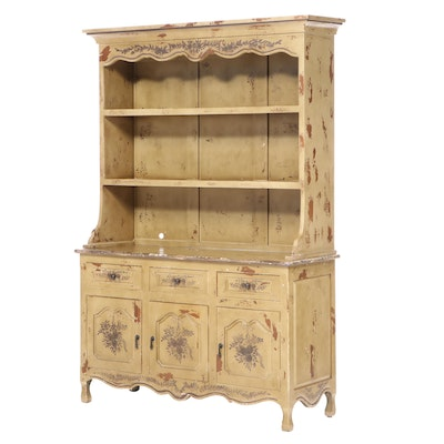 French Provincial Style Paint-Decorated Two-Piece Cupboard