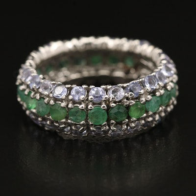 Sterling Emerald and Tanzanite Multi-Row Eternity Ring